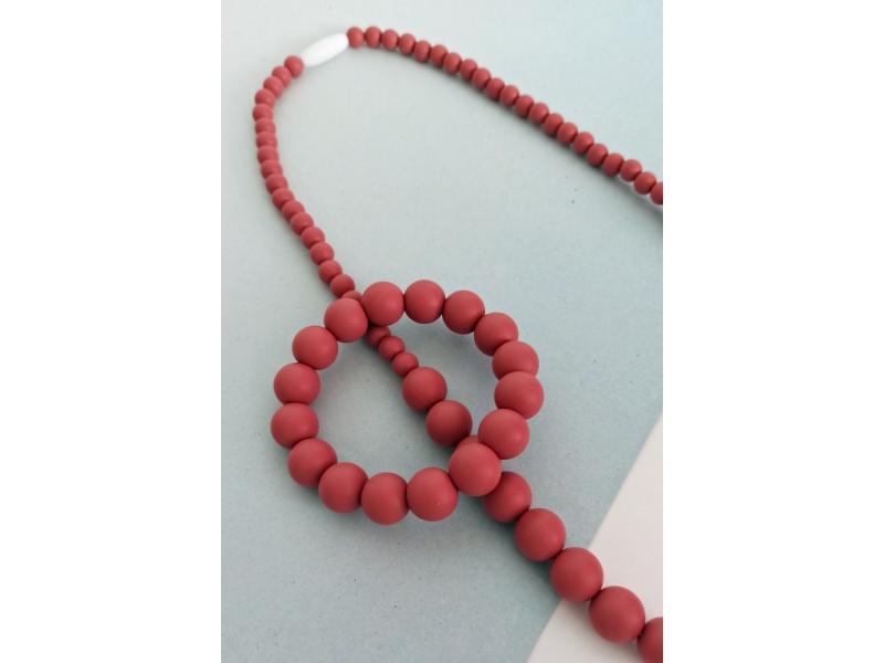 MIMIKOI - Kojící korále a náramek - set - cihlové