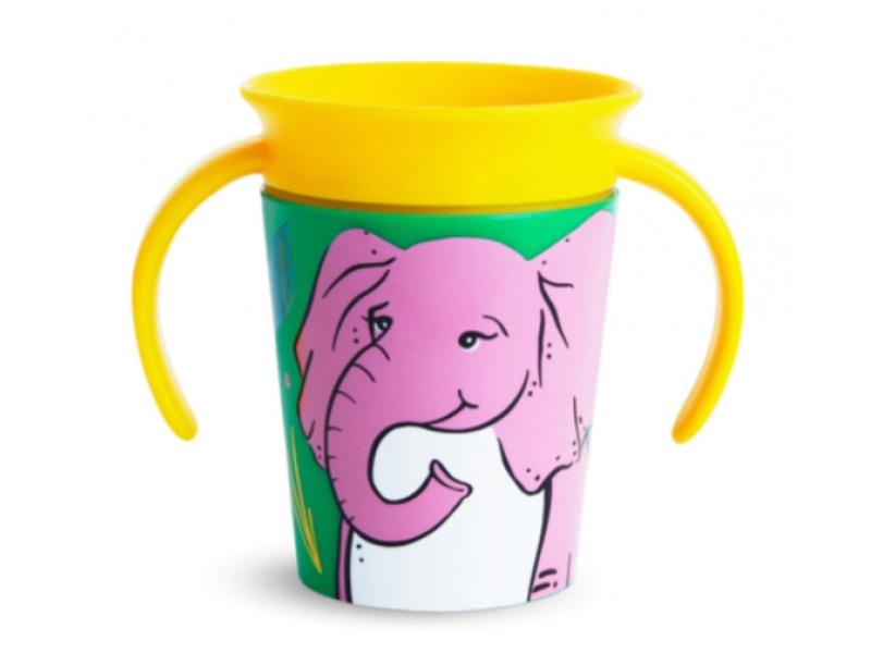 Munchkin - Juniorský hrneček WildLove 360° s oušky 177 ml - slon